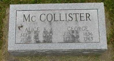 MCCOLLISTER, GEORGE - Johnson County, Iowa | GEORGE MCCOLLISTER