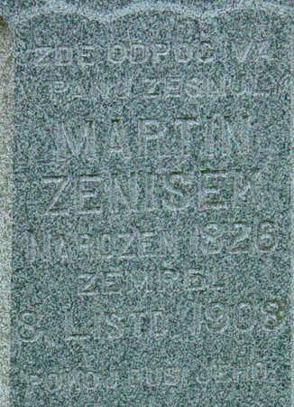 ZENISEK, MARTIN - Johnson County, Iowa   MARTIN ZENISEK