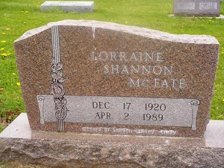 MCFATE, LORRAINE SHANNON - Jones County, Iowa   LORRAINE SHANNON MCFATE