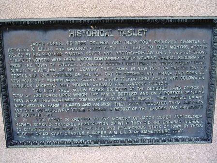 SOPER, HISTORICAL TABLET - Jones County, Iowa | HISTORICAL TABLET SOPER