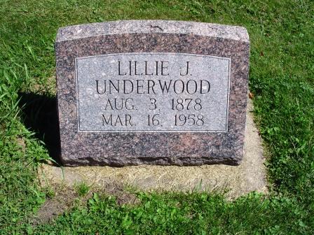UNDERWOOD, LILLIE J - Jones County, Iowa   LILLIE J UNDERWOOD