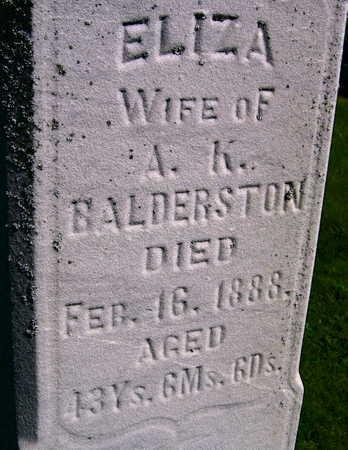 BALDERSTON, ELIZA - Linn County, Iowa   ELIZA BALDERSTON