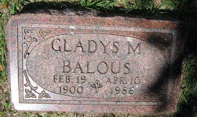 BALOUS, GLADYS M. - Linn County, Iowa   GLADYS M. BALOUS