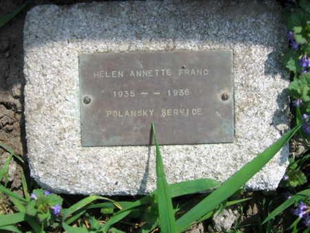 FRANC, HELEN ANNETTE - Linn County, Iowa   HELEN ANNETTE FRANC