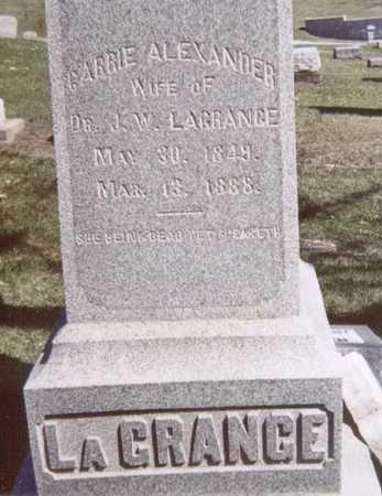 ALEXANDER LAGRANGE, CARRIE - Linn County, Iowa   CARRIE ALEXANDER LAGRANGE