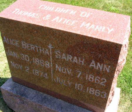 MANLY, SARAH ANN - Linn County, Iowa   SARAH ANN MANLY