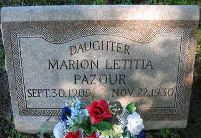PAZOUR, MARION LETITIA - Linn County, Iowa   MARION LETITIA PAZOUR