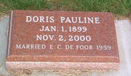 DE FOOR, DORIS PAULINE - Lyon County, Iowa | DORIS PAULINE DE FOOR