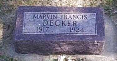 DECKER, MARVIN FRANCIS - Lyon County, Iowa | MARVIN FRANCIS DECKER