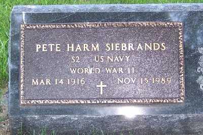 SIEBRANDS, PETE HARM - Lyon County, Iowa   PETE HARM SIEBRANDS