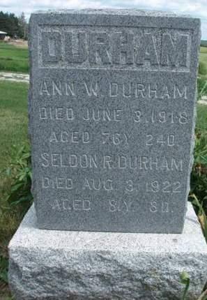 DURHAM, ANN WARDER - Madison County, Iowa   ANN WARDER DURHAM