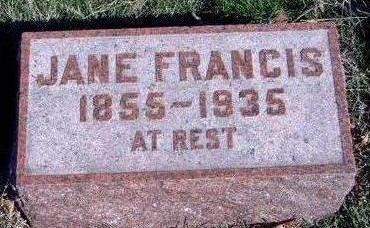 FRANCIS, JANE FRANCES - Madison County, Iowa   JANE FRANCES FRANCIS