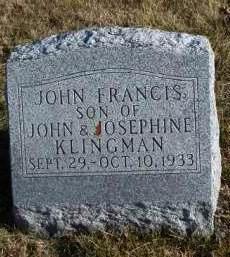 KLINGMAN, JOHN FRANCIS - Madison County, Iowa | JOHN FRANCIS KLINGMAN