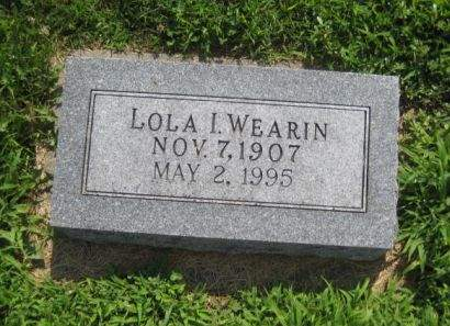 WEARIN, LOLA I. - Mills County, Iowa   LOLA I. WEARIN