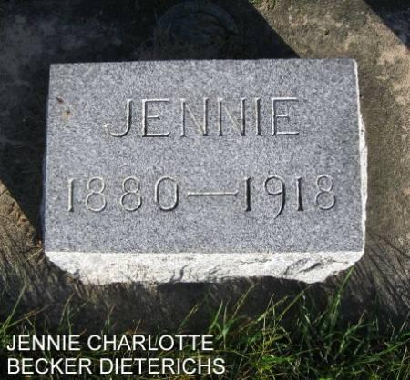 BECKER DIETERICHS, JENNIE CHARLOTTE - Mitchell County, Iowa | JENNIE CHARLOTTE BECKER DIETERICHS