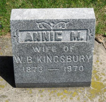 KINGSBURY, ANNIE M. - Mitchell County, Iowa | ANNIE M. KINGSBURY