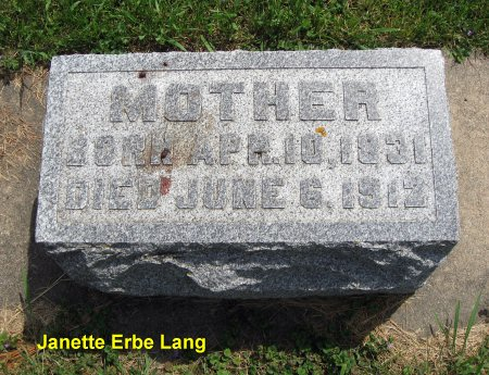 ERBE LANG, JANETTE - Mitchell County, Iowa | JANETTE ERBE LANG
