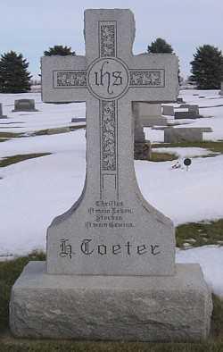 TOETER, MINA (MAIN STONE) - Mitchell County, Iowa   MINA (MAIN STONE) TOETER