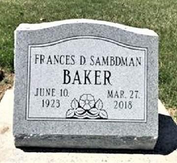 SAMBDMAN BAKER, FRANCES DOROTHY - Muscatine County, Iowa | FRANCES DOROTHY SAMBDMAN BAKER