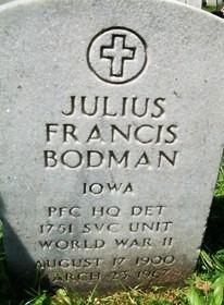 BODMAN, JULIUS FRANCIS - Muscatine County, Iowa | JULIUS FRANCIS BODMAN