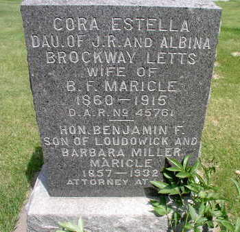 BROCKWAY MARICLE, CORA ESTELLA - Muscatine County, Iowa | CORA ESTELLA BROCKWAY MARICLE