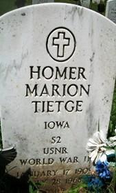 TIETGE, HOMER MARION - Muscatine County, Iowa   HOMER MARION TIETGE