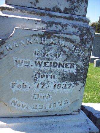 MARSH WEIDNER, HANNAH K. - Page County, Iowa   HANNAH K. MARSH WEIDNER
