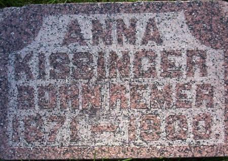 REMER KISSINGER, ANNA - Plymouth County, Iowa   ANNA REMER KISSINGER