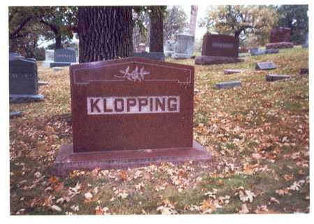 KLOPPING, FAMILY MARKER - Pottawattamie County, Iowa   FAMILY MARKER KLOPPING