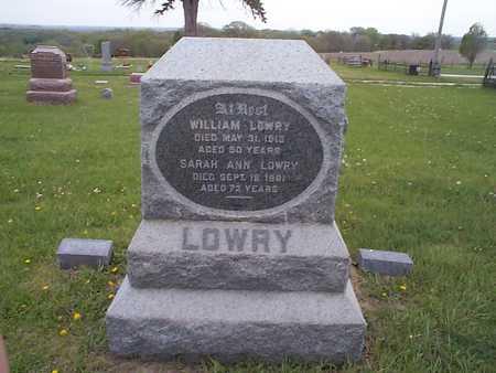 LOWRY, SARAH ANN - Pottawattamie County, Iowa   SARAH ANN LOWRY