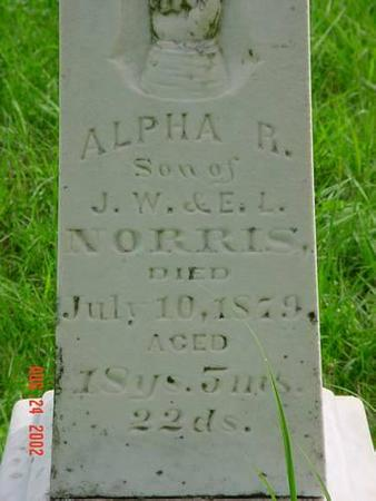 NORRIS, ALPHA R. INSCRIPTION - Pottawattamie County, Iowa | ALPHA R. INSCRIPTION NORRIS