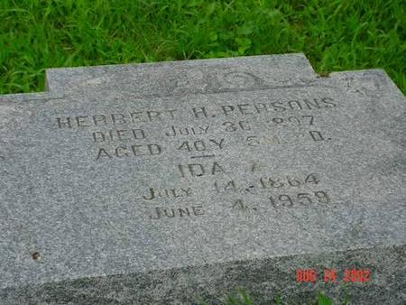 PERSONS, HERBERT H. & IDA A. INSCRIPTION - Pottawattamie County, Iowa | HERBERT H. & IDA A. INSCRIPTION PERSONS