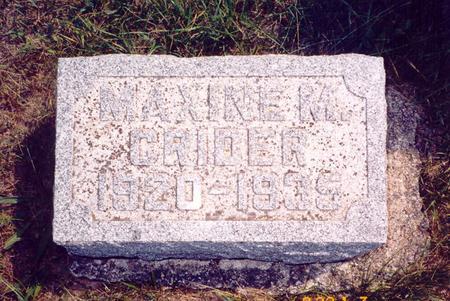 CRIDER, MAXINE M - Poweshiek County, Iowa | MAXINE M CRIDER