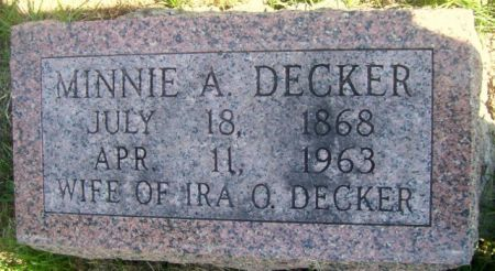 DECKER, MINNIE A. - Poweshiek County, Iowa | MINNIE A. DECKER