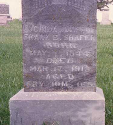 SHAFFER, LUCINDA JANE - Ringgold County, Iowa   LUCINDA JANE SHAFFER