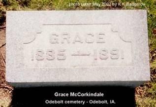MCCORKINDALE, GRACE - Sac County, Iowa   GRACE MCCORKINDALE
