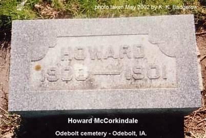 MCCORKINDALE, HOWARD - Sac County, Iowa   HOWARD MCCORKINDALE