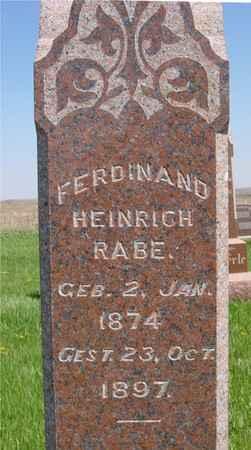 RABE, FERDINAND HEINRICH - Sac County, Iowa | FERDINAND HEINRICH RABE