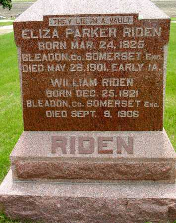 RIDEN, WILLIAM & ELIZA - Sac County, Iowa | WILLIAM & ELIZA RIDEN