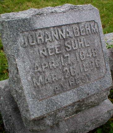 BEHM, JOHANNA - Scott County, Iowa   JOHANNA BEHM