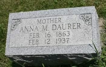 DAURER, ANNA M. - Scott County, Iowa   ANNA M. DAURER
