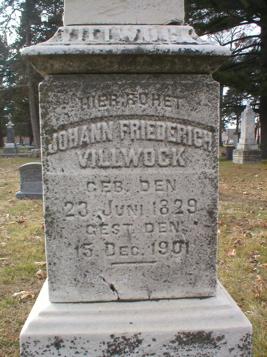 VILLWOCK, JOHANN FRIEDERICH - Scott County, Iowa   JOHANN FRIEDERICH VILLWOCK