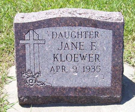 KLOEWER, JANE F. - Shelby County, Iowa   JANE F. KLOEWER