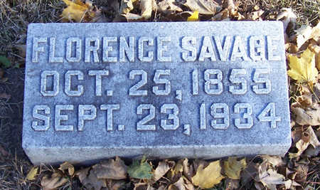 COFFIN SAVAGE, FLORENCE - Shelby County, Iowa | FLORENCE COFFIN SAVAGE