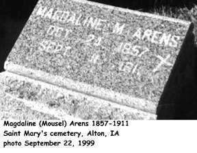 MOUSEL ARENS, MAGDALINE - Sioux County, Iowa | MAGDALINE MOUSEL ARENS