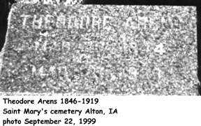 ARENS, THEODORE - Sioux County, Iowa | THEODORE ARENS