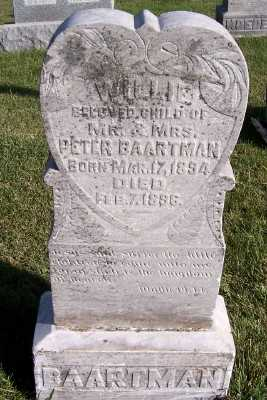 BAARTMAN, WILLIE (SON OF M/M PETER) - Sioux County, Iowa   WILLIE (SON OF M/M PETER) BAARTMAN