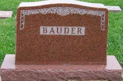 BAUDER, HEADSTONE - Sioux County, Iowa | HEADSTONE BAUDER