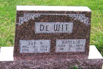 DEWIT, JOE H. - Sioux County, Iowa   JOE H. DEWIT