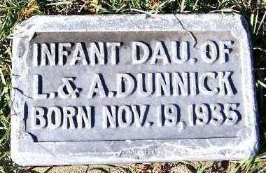 DUNNICK, INFANT DAUGHTER OF L&A - Sioux County, Iowa | INFANT DAUGHTER OF L&A DUNNICK